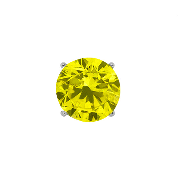 Gem Stone King 0.15 Ct Round Canary SI1-SI2 Diamond 14K White Gold Men's Single Stud Earring