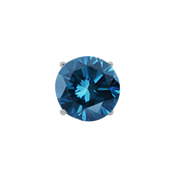 Gem Stone King 0.12 Ct Round Blue SI1-SI2 Diamond 14K White Gold Men's Single Stud Earring