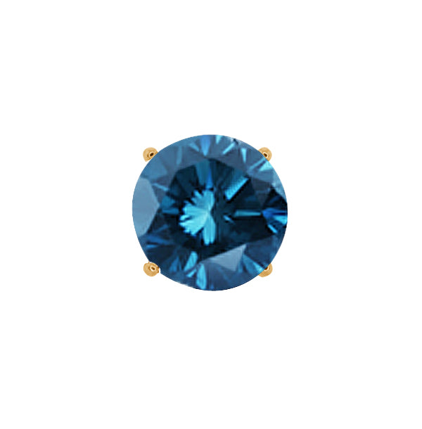 0.55 Ct Round Blue SI1-SI2 Diamond 18K Yellow Gold Men's Single Stud Earring