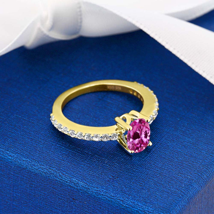 1.20 Ct Oval Pink and White Created Sapphire 18K Yellow Gold Plated Silver Ring