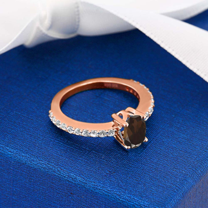 1.05 Ct Smoky Quartz and White Created Sapphire 18K Rose Gold Plated Silver Ring