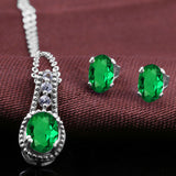 1.28 Ct Oval Green Simulated Emerald 925 Sterling Silver Pendant Earrings Set