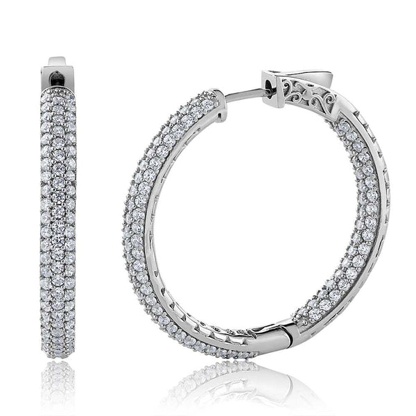 2.00 Ct 925 Sterling Silver 3 Row Pave Inside-Out Cubic Zirconia Hoop Earrings