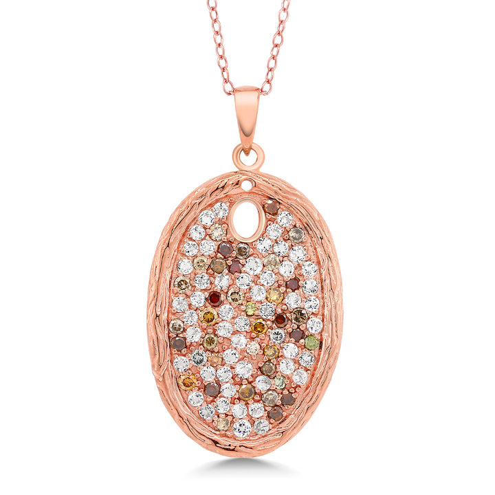 Gem Stone King 2.34 Ct Diamond & White Topaz 925 Sterling Silver Rose Gold Plated Tree Bark Textured Pendant