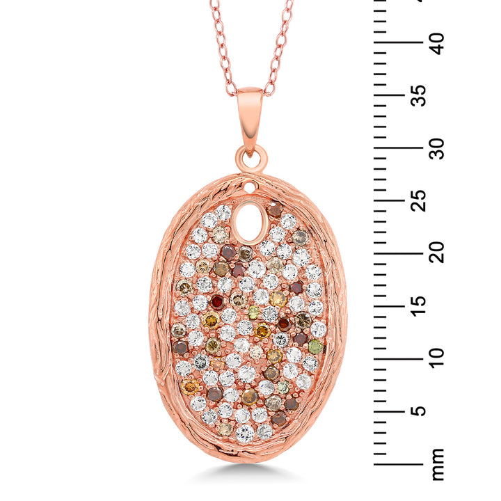 2.34 Ct Diamond & White Topaz 925 Silver Rose Gold Plated Bark Textured Pendant
