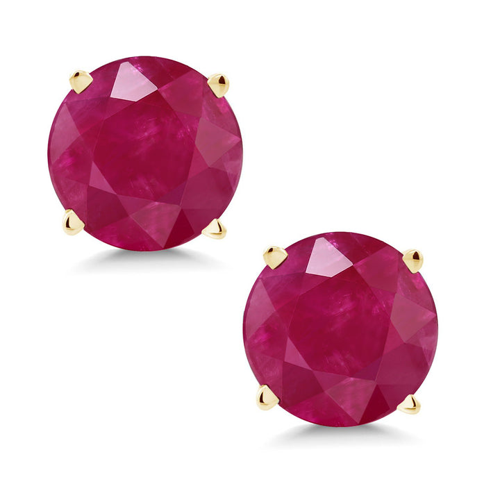 Gem Stone King 14K Yellow Gold Red Ruby Stud Earrings 2.00 Ctw Gemstone Birthstone Round 6MM
