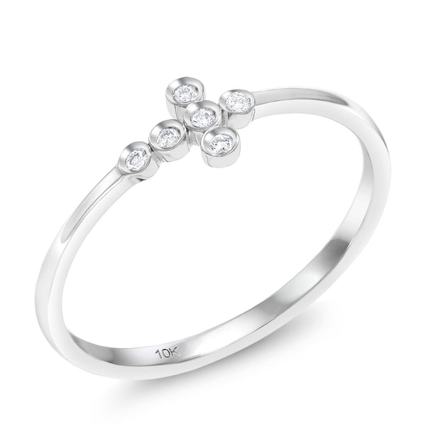10K Solid White Gold Cross Shape Round Cut 0.035 Cttw White Diamond Ring