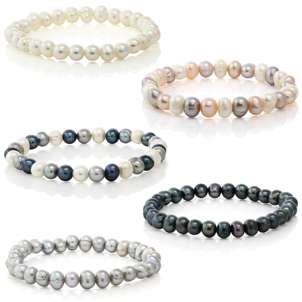 Set Of 5 Multicolor Cultured Freshwater Pearl Stretch Bracelets 7.5""