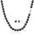Black Cultured Freshwater Pearl Necklace and Earring Set In 14K White Gold