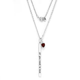 "Gem Stone King Beautiful ""all you need is love"" 18"" Necklace With January Birthstone"