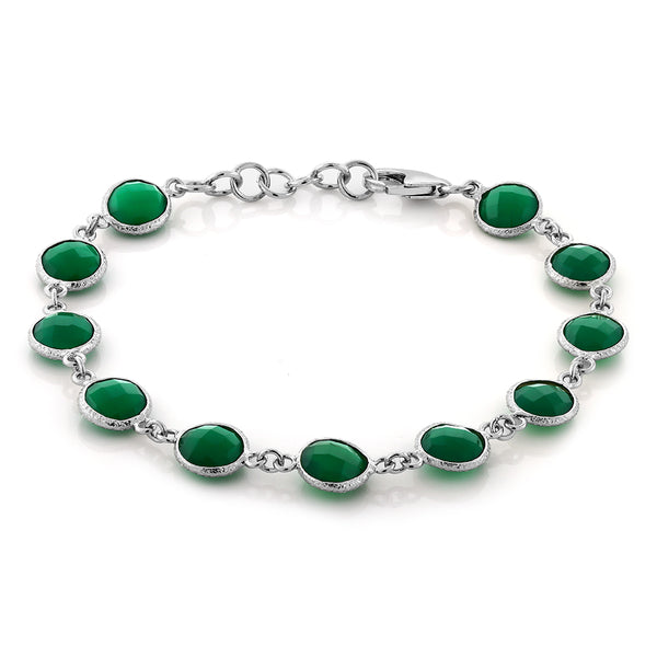 "Sterling Silver Green Onyx Bracelet Round Checkerboard Cut 25.00 Carat 7""+1"""