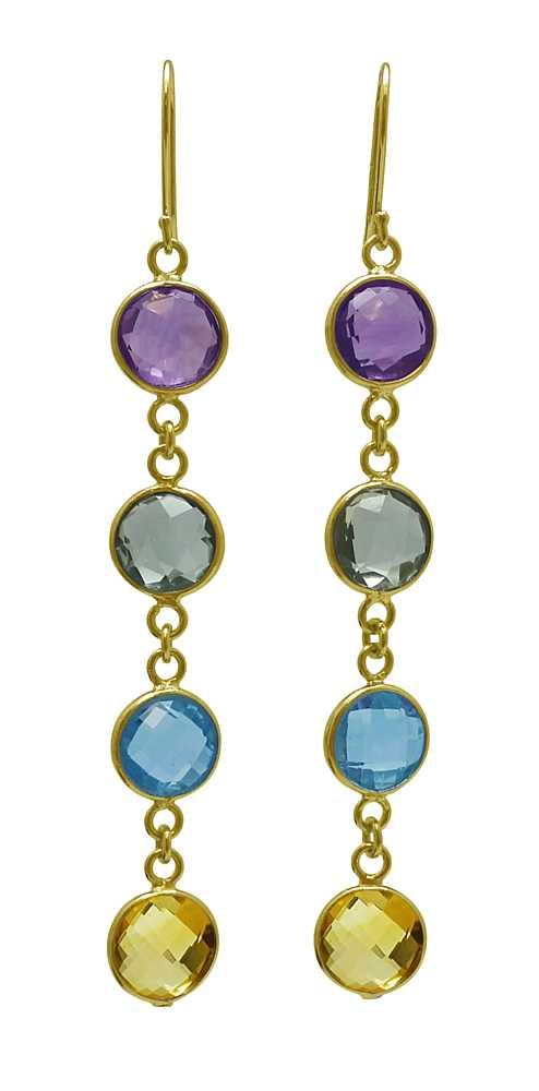 12.00 Ct Round 8mm Multi-Gemstone 925 Gold Plated Silver Dangle Earrings