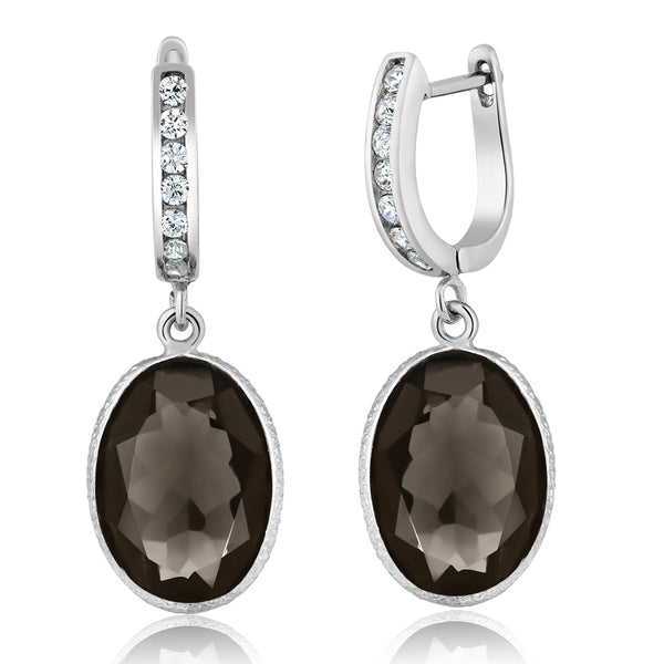 Smokey Quartz Gemstone Oval 925 Sterling Silver 10.00 Carat Dangle Earrings