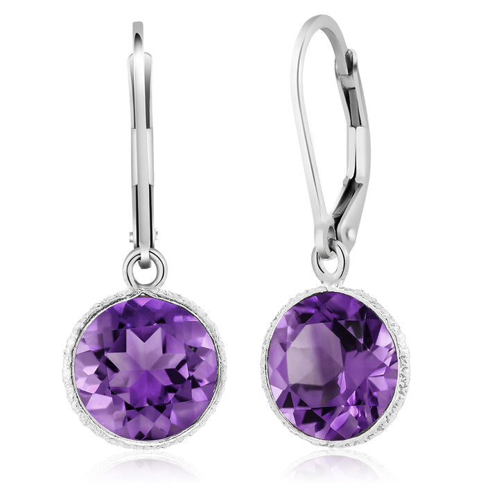 Gem Stone King 925 Sterling Silver Purple Amethyst Leverback Dangle Earrings 8.00 Ctw Beautiful Gemstone Birthstone