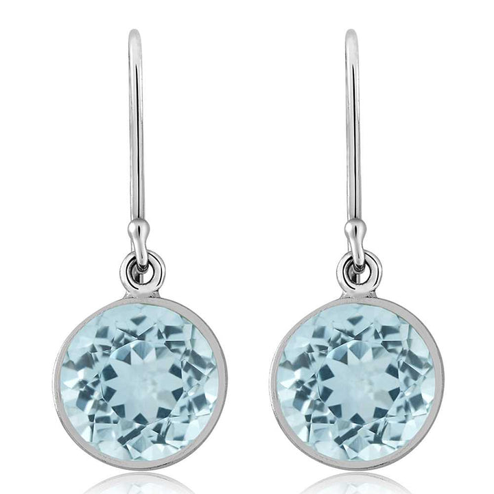 6.50 Ct Blue Topaz 9mm Round 925 Sterling Silver Dangle Earrings