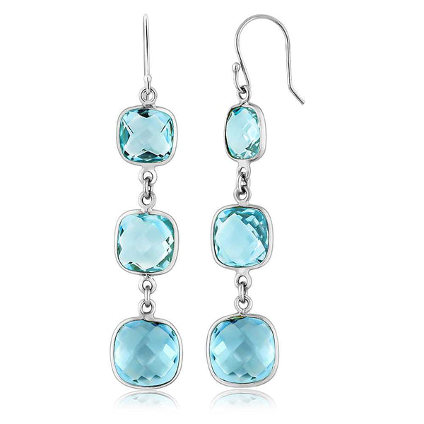 Sky Blue Topaz Cushion Cut 8mm, 9mm and 10mm 22cttw 925 Silver Dangle Earrings