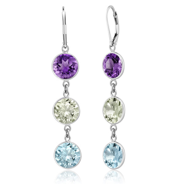 925 Silver Dangle Earrings With Blue Topaz & Purple and Green Amethyst