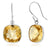 12.00 ctw Sterling Silver Citrine Cushion Checkerboard Dangle Earrings