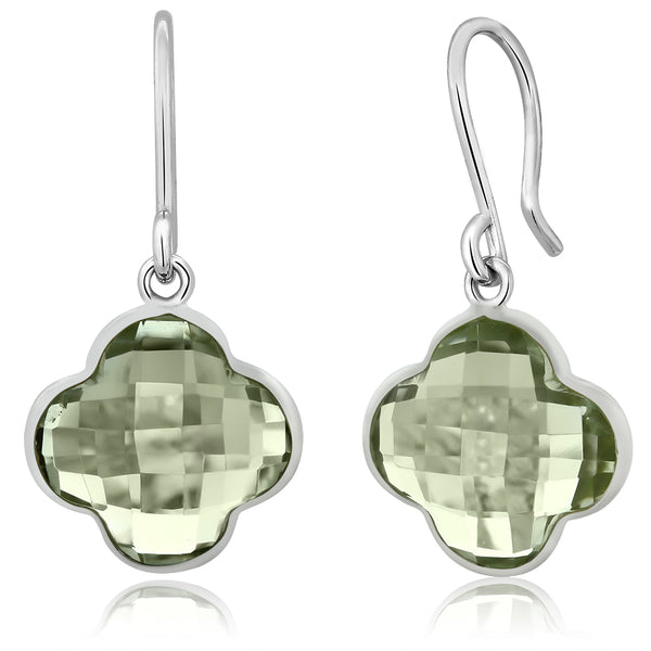 10.00 Ct Sterling Silver Green Amethyst Cushion Cut Clover Style Dangle Earrings