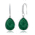 13.00 Ct Green Onyx 16X12MM Pear Shape 925 Silver Dangle Earrings