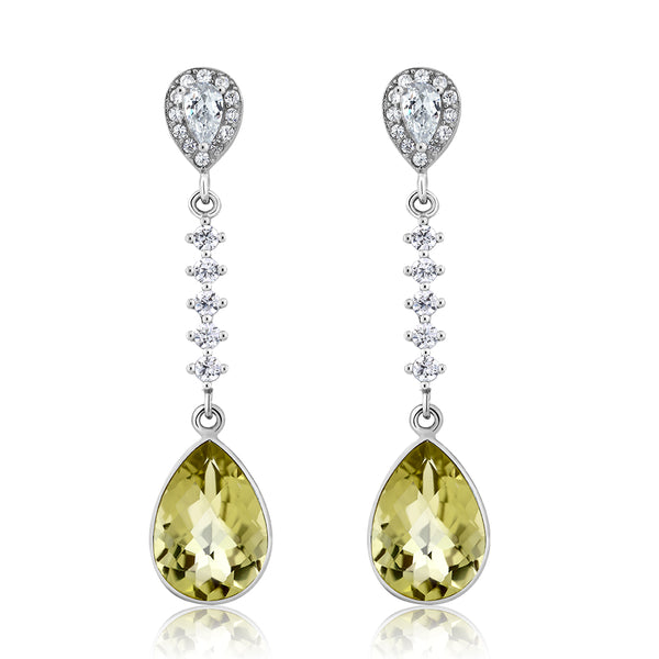 5.00 Ct Gorgeous 925 Sterling Silver Lemon Quartz Pear Shape Dangle Earrings