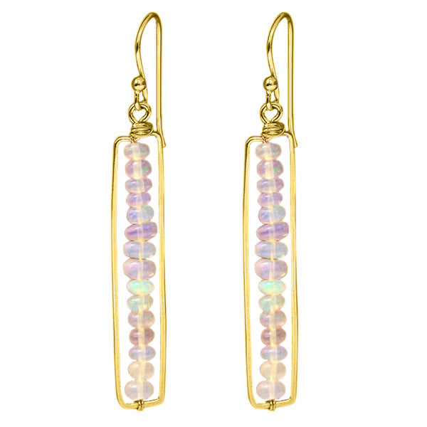 8.50 Ctw Gold Plated 925 Silver Opal Bead Dangle Earrings 2""