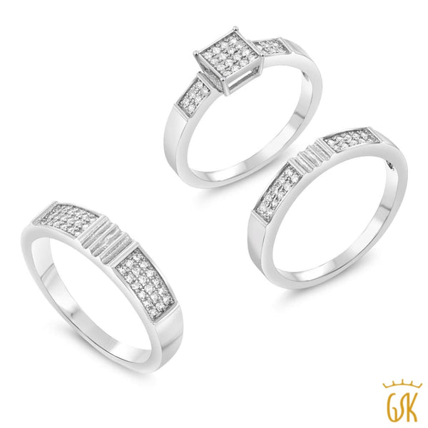 His And Hers 3 Pieces 925 Silver And Cz Engagement Wedding Three Ring Set - Jewelry