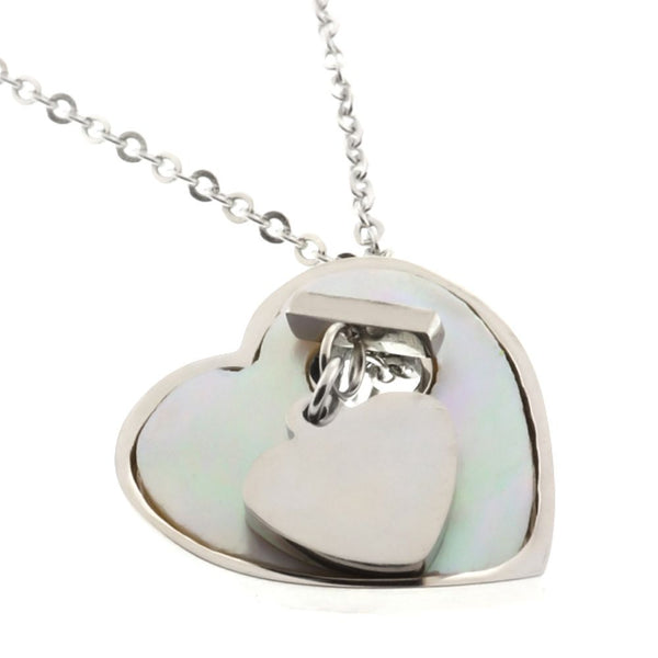 Gem Stone King Stainless Steel Heart Shape Pendant Necklace 16inches With 2.5inches Extender