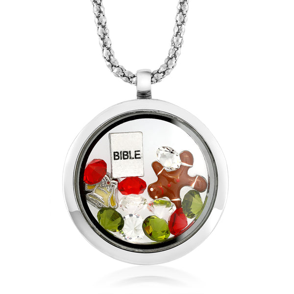 Multi-Colored Crystals Charm with Bible Locket Pendant Necklace