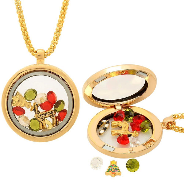 Christmas Collection Multi-Colored Crystals Charm Locket Pendant Necklace