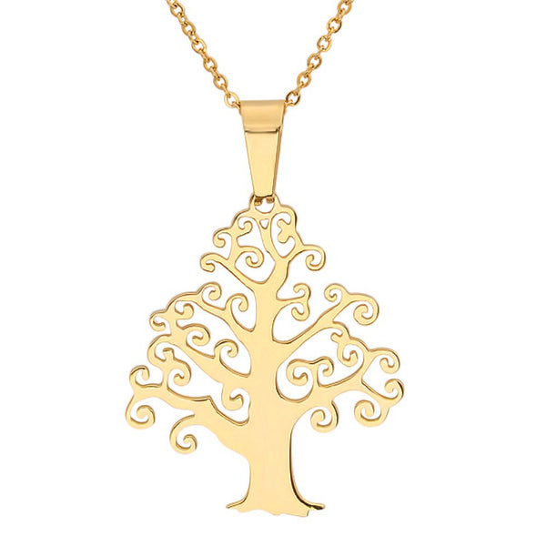 "1.5"" Stainless Steel High Shine Tree of Life Design Gold Plated Charm Pendant"