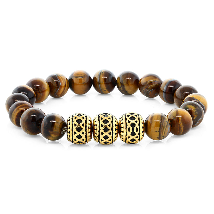 Gem Stone King 7 Inch Round 10MM Tiger's Eye Beaded Stretchy Bracelet With 3 Gold Design