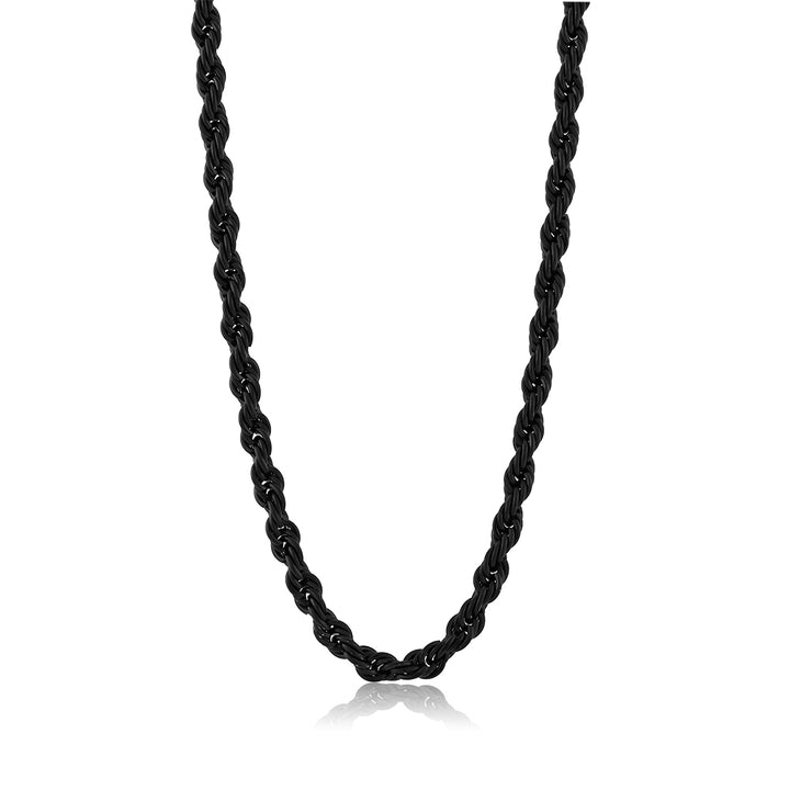 24 Inch Black Stainless Steel French Rope Chain Necklace with Lobster Clasp