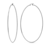 Gem Stone King 3.5 Inch Stainless Steel Silver Tone Hoop Earrings