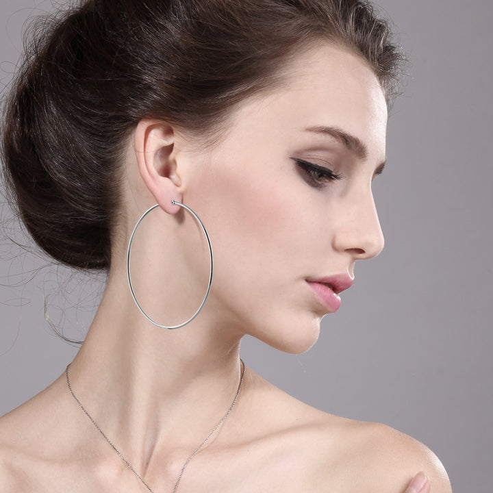 3.5 Inch Stainless Steel Silver Tone Hoop Earrings
