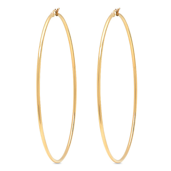 f89f9f1d8 3.5 Inch Stunning Stainless Steel Yellow Gold Tone Hoop Earrings (90mm  Diameter)