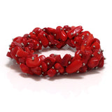 Gem Stone King 7inches Multi Strands  Red Simulated Coral Stone Chips Stretch Bangle Bracelet