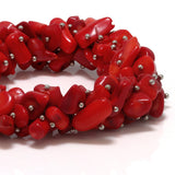 "7"" Multi Strands  Red Simulated Coral Stone Chips Stretch Bangle Bracelet"