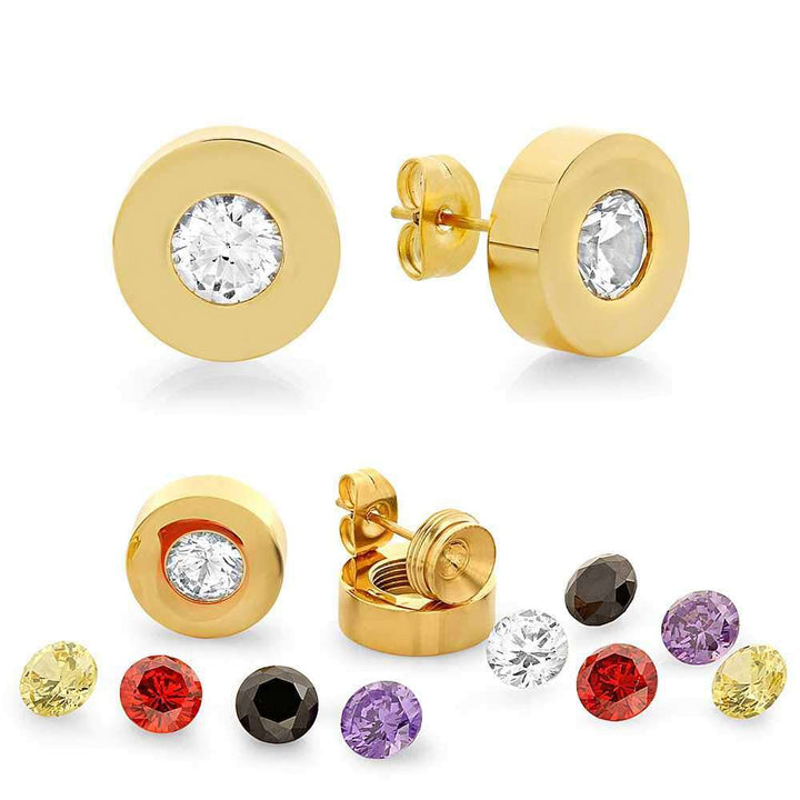 Gem Stone King 1.50 Ct Round 6mm Stainless Steel Interchangeable Gold Plated Cubic Zirconia Studs