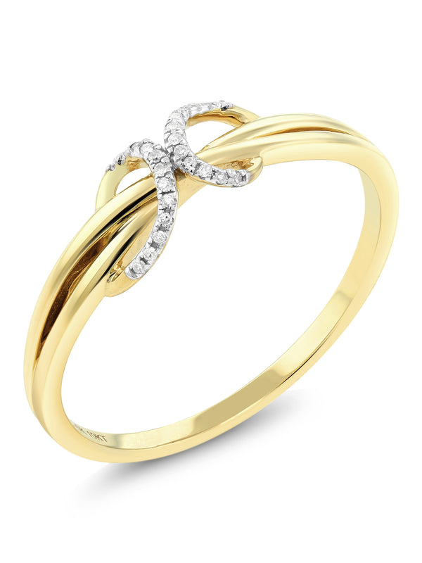 10K Solid Yellow Gold White Diamond Anniversary Wedding Band 0.036 cttw, I-J Color, I1-I2 Clarity (Available 5,6,7,8,9)