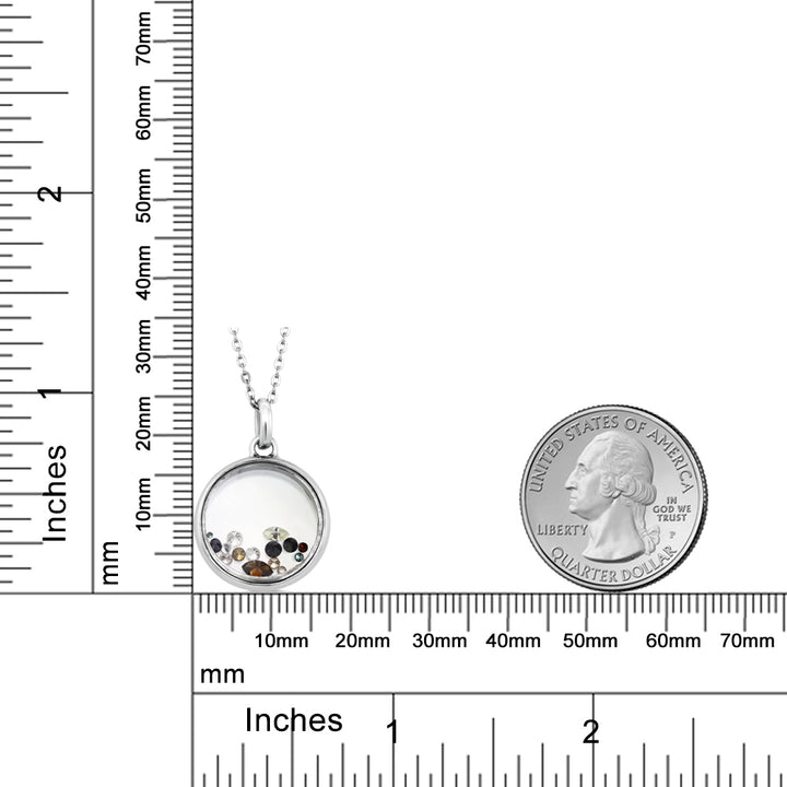 "0.5 Inch Floating  0.33 cttw Mixed Diamond Pendant With 18"" Chain 925 Sterling Silver"