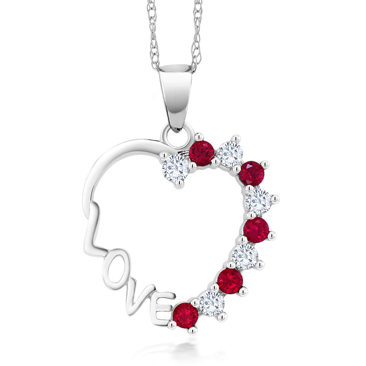 Gem Stone King 10K White Gold 0.44 ctw Created White Sapphire & Created Red Ruby Heart Pendant