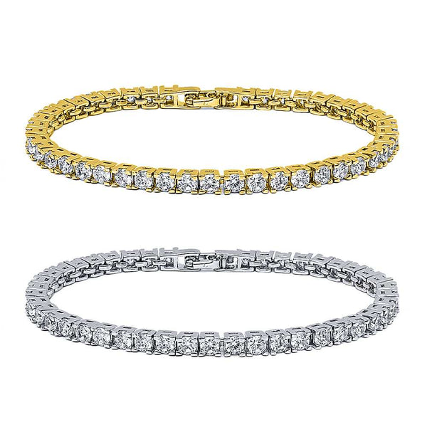 10.00ctw Round Cubic Zirconia Rhodium Plated or 14K Gold Plated Tennis Bracelet