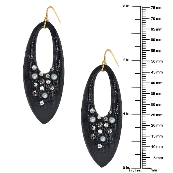 Black Resin With Multi Color Pave Crystals Earrings W/Gold Plated Earwires