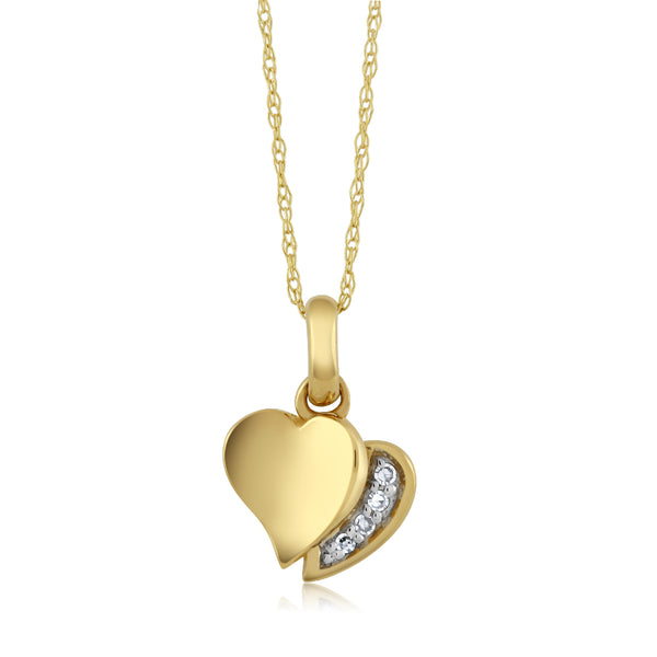 "18k Yellow Gold White Diamond Heart Shape Pendant Necklace w/18"" Chain"