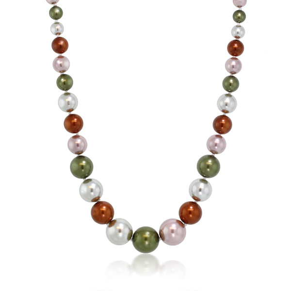 Stunning Multi Color 8MM to 16MM Round Simulated Shell Pearl Necklace, 18 Inch