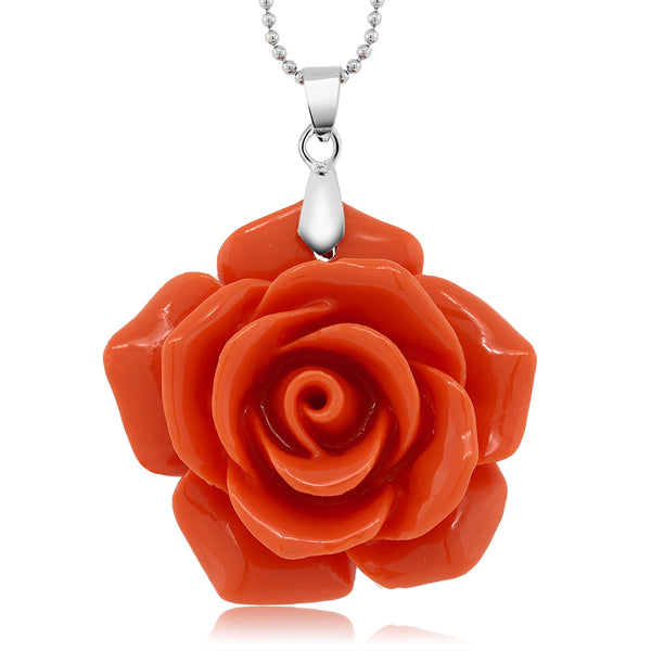 Gem Stone King 30MM Simulated Pink Coral Carved Rose Flower Pendant Necklace With 18 Inch Chain