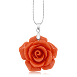 "30MM Simulated Pink Coral Carved Rose Flower Pendant With 18"" Chain"