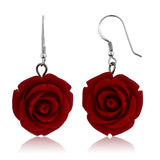 Gem Stone King 20MM 925 Sterling Silver  Red Simulated Coral Carved Rose Flower Earrings