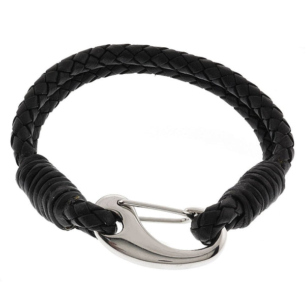Men's 8 Inch Black Leather Bracelet With Stainless Steel Clasp